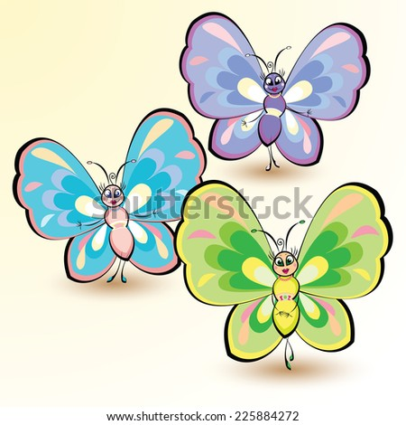 Butterflies isolated on white background. Vector illustration.