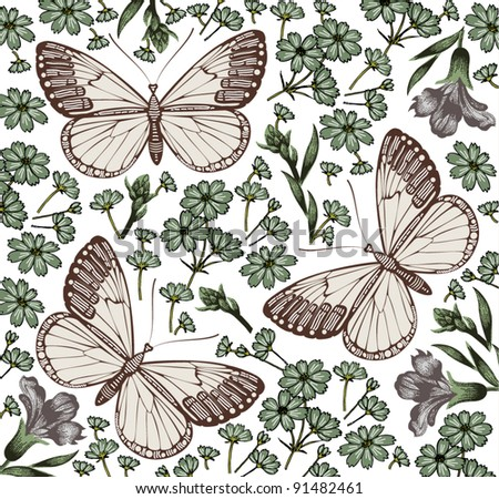 Butterflies, moths, insects. Baroque textile. Beautiful pink and red blooming flowers. Vintage background. Wallpaper. Wildflowers cornflower. Flora. Vector victorian style Illustration.