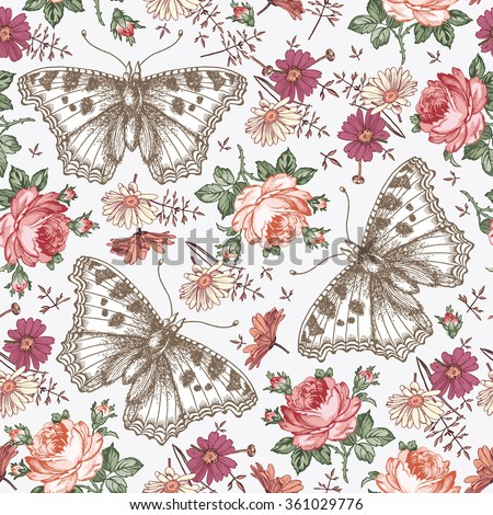 Butterflies, moths, insects. Seamless baroque textile. Beautiful pink and red realistic flowers. Vintage background. Wallpaper. Rose Chamomile Wildflowers. Flora. Vector victorian style Illustration. - stock vector