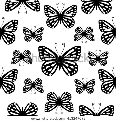 Butterflies. Seamless vector pattern.