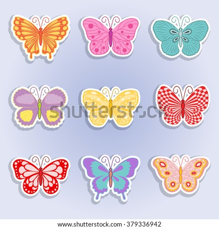 butterflies set of icons