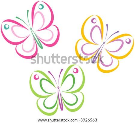 Butterflies (Vector) - stock vector