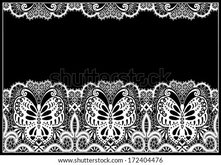 Butterfly abstract decoration. Ornamental lace pattern, fabric with flowers, design element, hand drawn sketch frame border, ornate detailed background, white on black