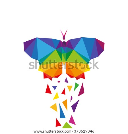 Butterfly abstract triangle design concept element isolated on a white backgrounds, vector illustration - stock vector