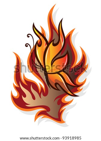 Butterfly and flame - stock vector
