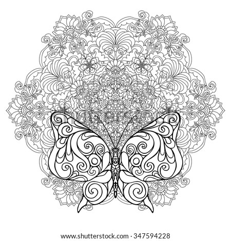 Butterfly Floral Mandala Coloring Book Adult Stock Vector ...