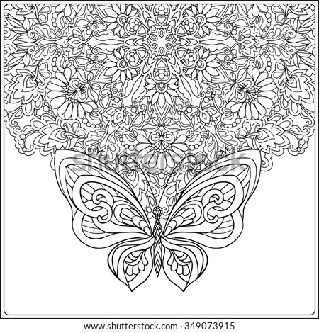 Butterfly Floral Mandala Coloring Book Adult Stock Vector (2018 ...