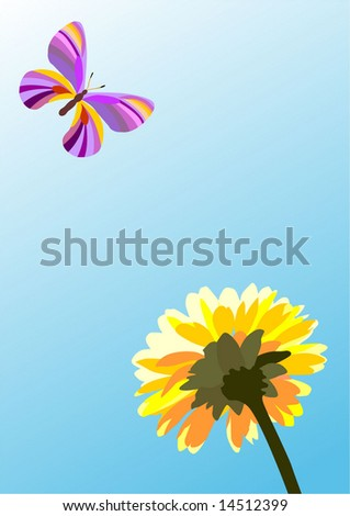 butterfly and flower, summer vector illustration - stock vector