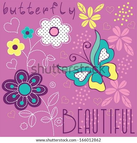 butterfly and flowers vector illustration - stock vector