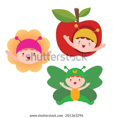 Butterfly babies characters - stock vector