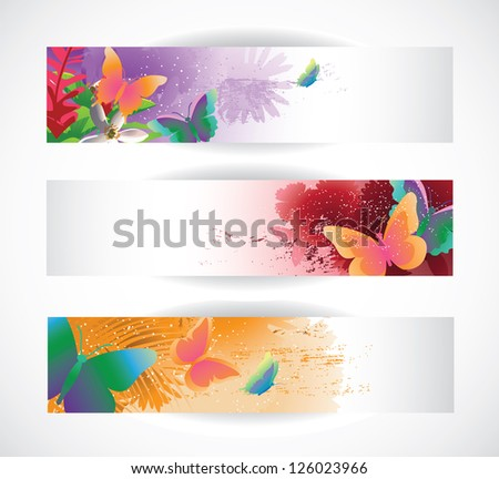 Butterfly Banners EPS 8 Vector - stock vector