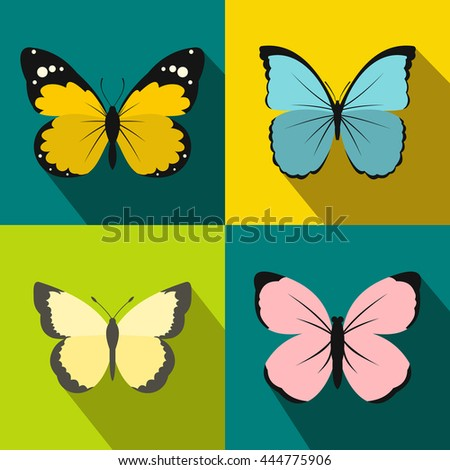 Butterfly banners set in flat style for any design