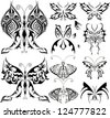 butterfly black shapes tattoo set - stock vector