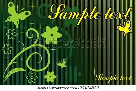 butterfly card vector - stock vector