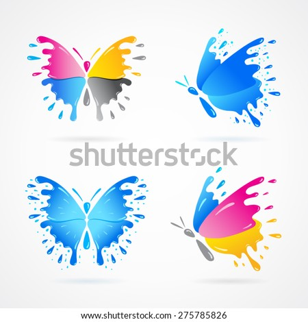 butterfly colored cmyk print splash collection set - stock vector