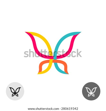 Butterfly colorful lines silhouette logo - stock vector