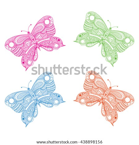 Butterfly doodle background. - stock vector