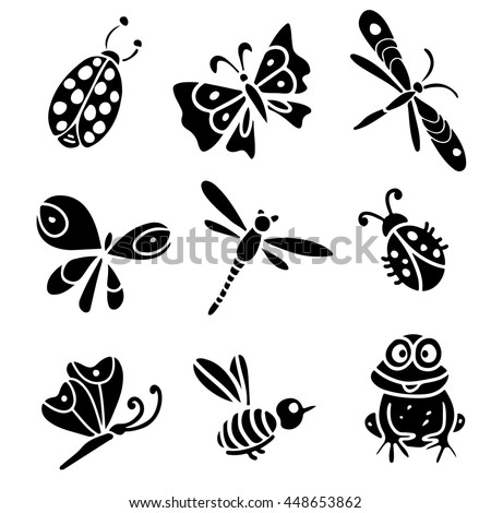 Butterfly, dragonfly, bee, ladybug, frog. Hand drawn black silhouette isolated on white background set - stock vector