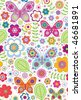 Butterfly Flower Garden Seamless Pattern - stock vector