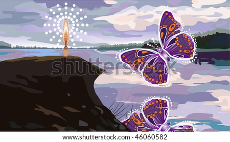 Butterfly flying over the river - stock vector