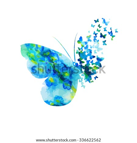 Butterfly from watercolor Flower. Vector - stock vector