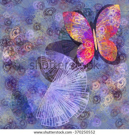 Butterfly. Gentle floral seamless background - stock vector