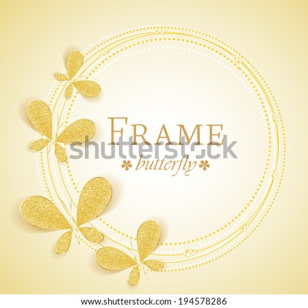 Butterfly gold jewelry frame with space for text - stock vector