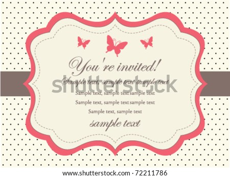 Butterfly Invitation Card - stock vector