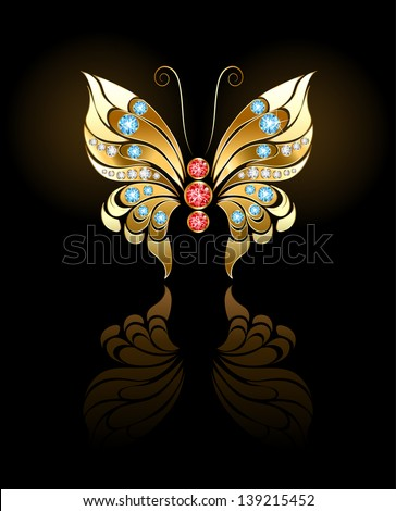 butterfly jewelry made gold, adorned with precious round stones on a dark background. - stock vector