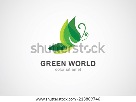 Butterfly leaf eco concept. Abstract vector logo design template.  - stock vector