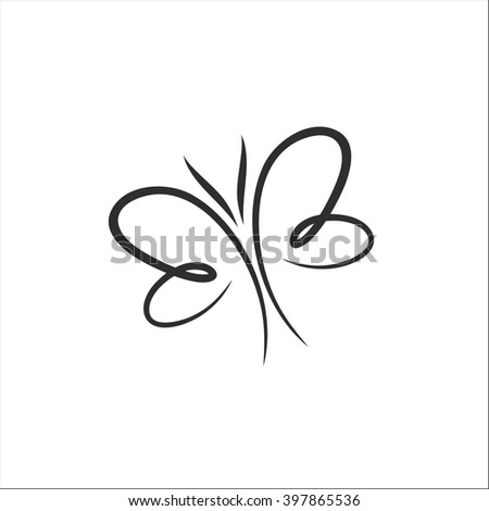 Butterfly line art - stock vector