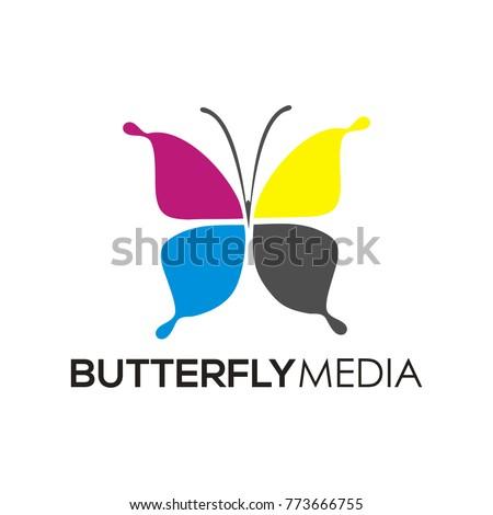 Butterfly Media Logo Icon Print Design Stock Vector 773666755 ...