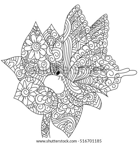 Butterfly On A Flower Animal Coloring Book For Adults Vector Illustration Anti Stress