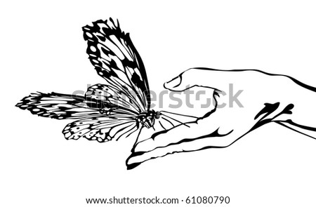 Butterfly on hand - stock vector