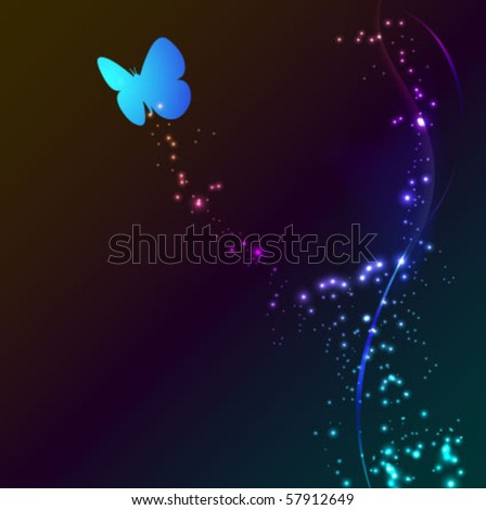 butterfly on the abstract glowing background - vector illustration - stock vector