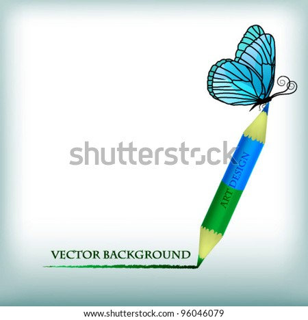 Butterfly pencil drawing, interesting idea for an art studio - stock vector