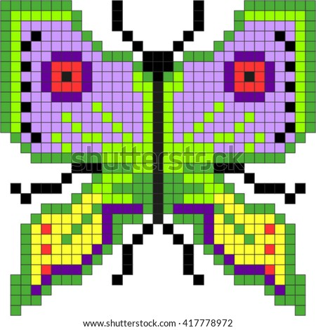 Butterfly,pixel ( drawing to the embroidery ). - stock vector