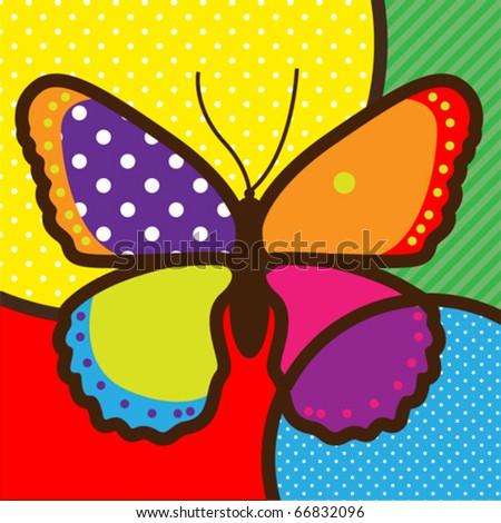 butterfly pop-art vector illustration for design - stock vector