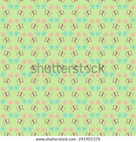 Butterfly seamless pattern for your design. vector background - stock vector