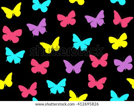 Butterfly seamless pattern. Multicolored butterflies. Vector illustration.