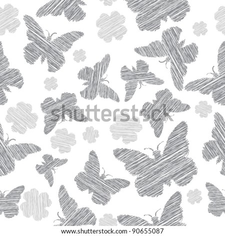 Butterfly seamless vector background - stock vector
