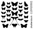 Butterfly silhouette set. Vector. Butterflies icon collection. Isolated on white background. - stock vector
