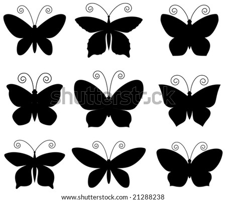 Butterfly silhouettes set. Black on white. - stock vector