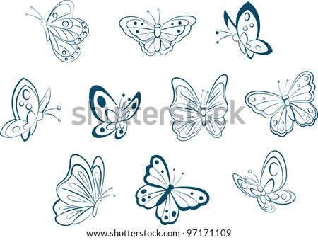 Butterfly sketch - stock vector
