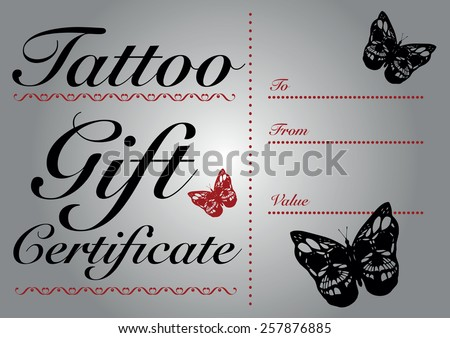 Butterfly skull tattoo gift card gift stock vector 257876885 butterfly skull tattoo gift card and gift certificate template yadclub Image collections
