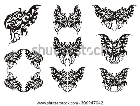 Butterfly symbols. Black on the white - stock vector