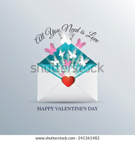 Butterfly take off from inside open envelope, concept love, Valentine Day. Can be used for wallpaper, canvas print, decoration, banner, advertising. Vector - stock vector