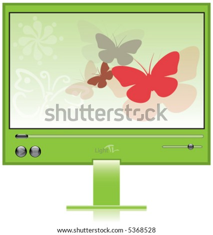 butterfly, television, green, movie, video. life - stock vector
