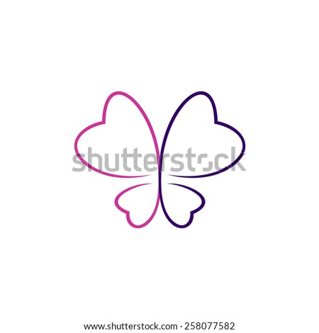 Butterfly thin outlines logo. Elegant contour style in a purple and violet colors. - stock vector