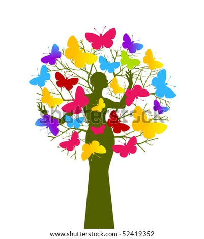 Butterfly tree (woman and tree separate elements - use with or without) - stock vector